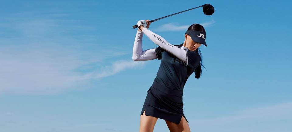 Female golfer wearing J.Lindeberg