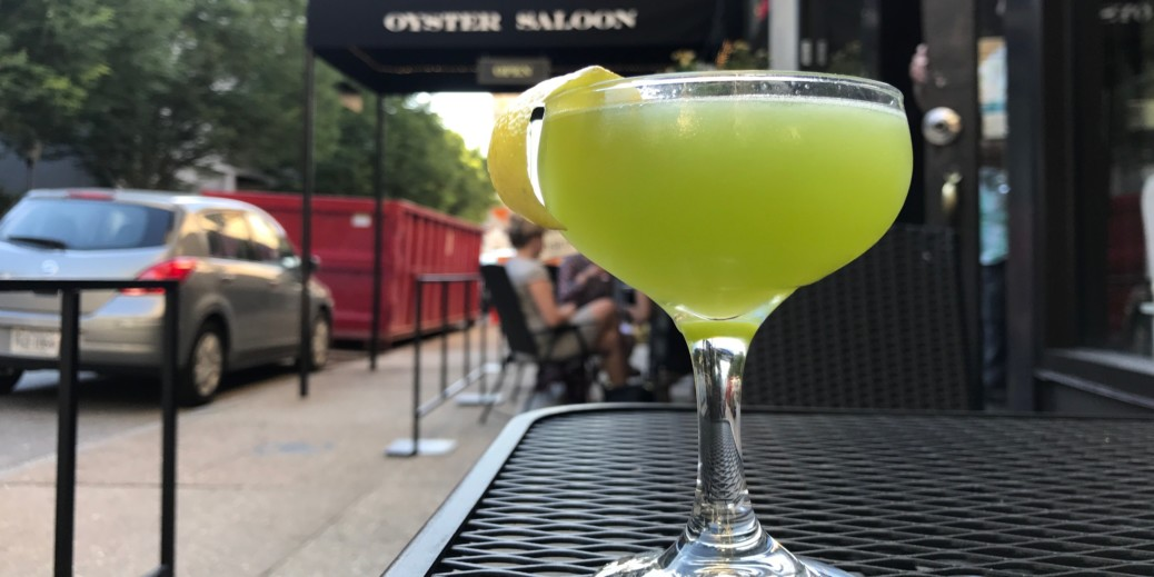 An Evening in Basil, lime green aquavit cocktail