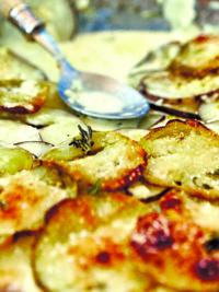 Swe-Dishes: Creamy Potato and Green Tomato Gratin from Malibu Farms