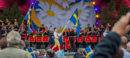 This woman created a Swedish folk dress out of Ikea bags
